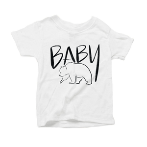 Baby Bear Organic White Triblend Infant Short Sleeve Tee