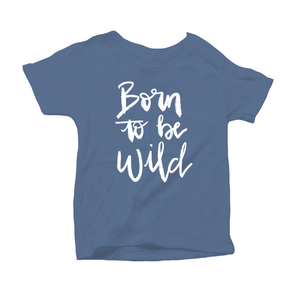 Born to be Wild Organic Blue Triblend Infant Short Sleeve Tee