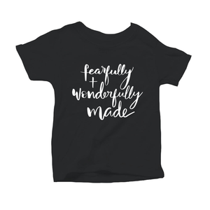 Fearfully and Wonderfully Made Organic Black Triblend Infant Short Sleeve Tee