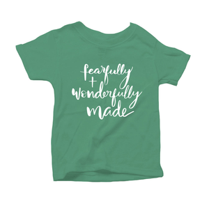 Fearfully and Wonderfully Made Organic Green Triblend Infant Short Sleeve Tee