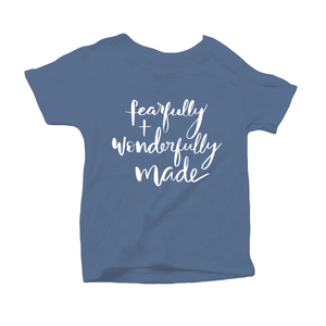 Fearfully and Wonderfully Made Organic Blue Triblend Infant Short Sleeve Tee