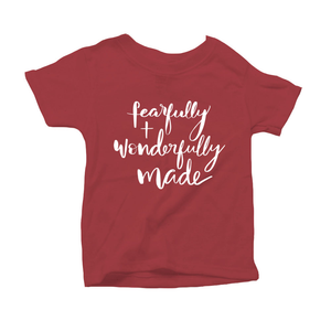Fearfully and Wonderfully Made Organic Red Triblend Infant Short Sleeve Tee