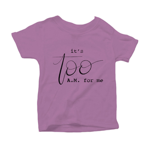It's Too AM for Me Organic Purple Triblend Infant Short Sleeve Tee
