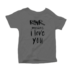 Rawr Means I Love You Organic Grey Triblend Infant Short Sleeve Tee