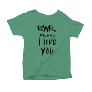 Rawr Means I Love You Organic Green Triblend Infant Short Sleeve Tee