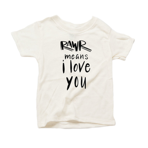 Rawr Means I Love You Organic Cream Triblend Infant Short Sleeve Tee