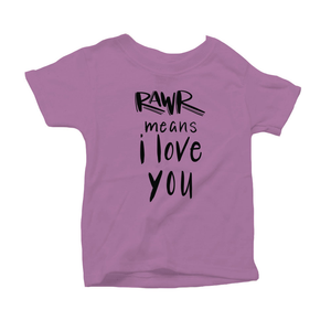 Rawr Means I Love You Organic Purple Triblend Infant Short Sleeve Tee