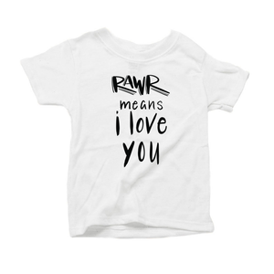 Rawr Means I Love You Organic White Triblend Infant Short Sleeve Tee
