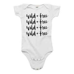 Wild and Free White Organic Cotton Onesie
