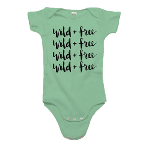Wild and Free Green Organic Cotton Onesie