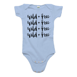 Wild and Free Baby Blue Organic Cotton Onesie