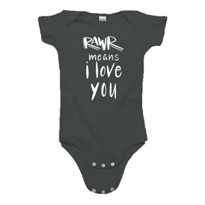 Rawr Means I Love You Gray Organic Cotton Onesie
