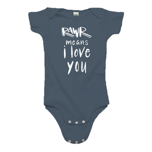 Rawr Means I Love You Ocean Blue Organic Cotton Onesie