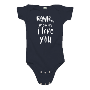 Rawr Means I Love You Navy Blue Organic Cotton Onesie