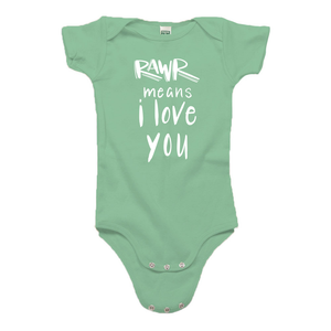 Rawr Means I Love You Green Organic Cotton Onesie