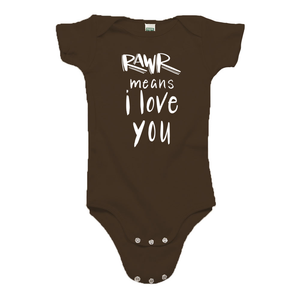 Rawr Means I Love You Brown Organic Cotton Onesie
