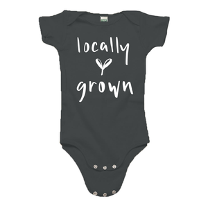 Locally Grown Gray Organic Cotton Onesie