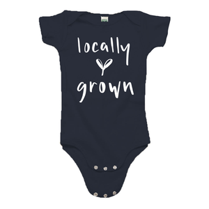 Locally Grown Navy Blue Organic Cotton Onesie