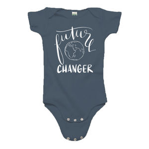 Future World Changer Ocean Blue Organic Cotton Onesie