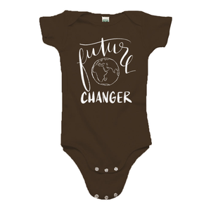 Future World Changer Brown Organic Cotton Onesie