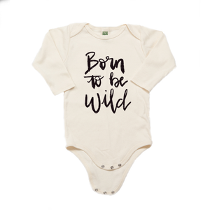 Born to be Wild Organic Cotton Cream Long Sleeve Onesie