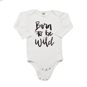 Born to be Wild Organic Cotton White Long Sleeve Onesie