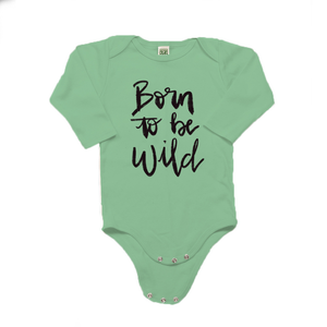 Born to be Wild Organic Cotton Green Long Sleeve Onesie