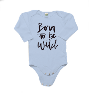Born to be Wild Organic Cotton Blue Long Sleeve Onesie