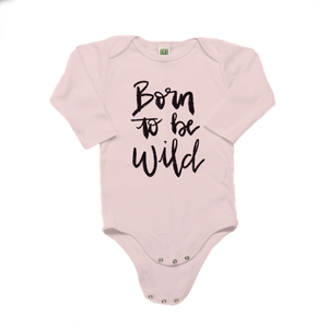 Born to be Wild Organic Cotton Pink Long Sleeve Onesie