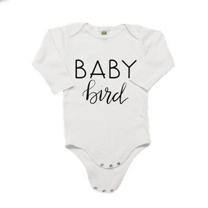 Baby Bird Organic Cotton White Long Sleeve Onesie