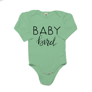Baby Bird Organic Cotton Green Long Sleeve Onesie