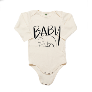 Baby Bear Organic Cotton Cream Long Sleeve Onesie