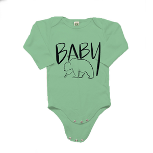 Baby Bear Organic Cotton Green Long Sleeve Onesie