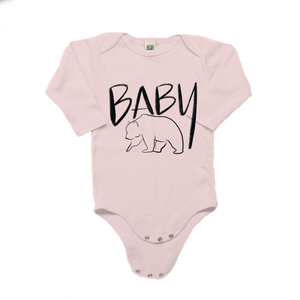 Baby Bear Organic Cotton Pink Long Sleeve Onesie