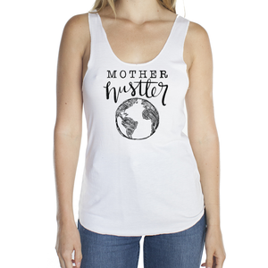 Mother Hustler White Viscose Bamboo Raw Edge Tank Top