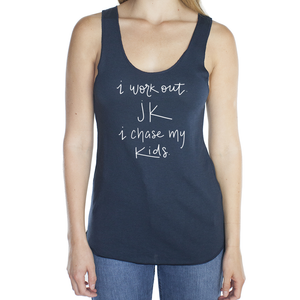 I Work Out. JK I Chase My Kids Navy Blue Viscose Bamboo Raw Edge Tank Top