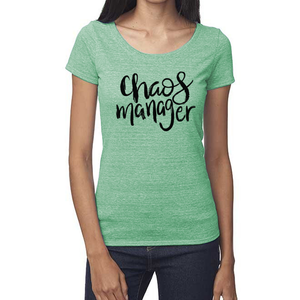 Chaos Manager Organic Green Triblend Scoop T- Shirt