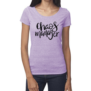 Chaos Manager Organic Purple Triblend Scoop T- Shirt