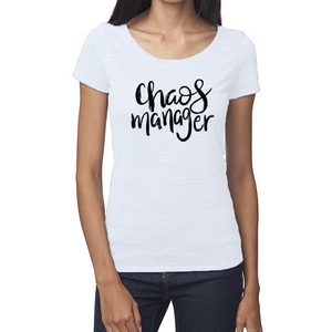 Chaos Manager Organic White Triblend Scoop T- Shirt