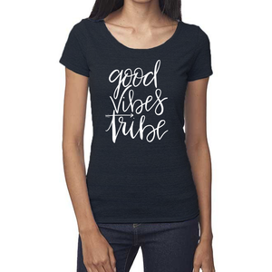 Good Vibes Tribe Organic Navy Triblend Scoop T- Shirt