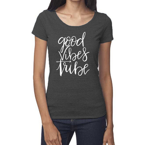 Good Vibes Tribe Organic Charcoal Triblend Scoop T- Shirt