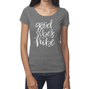 Good Vibes Tribe Organic Grey Triblend Scoop T- Shirt