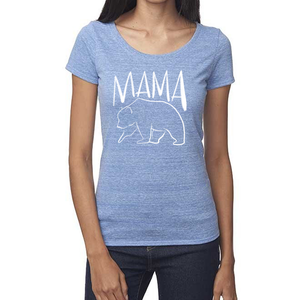 Mama Bear Organic Baby Blue Triblend Scoop T- Shirt