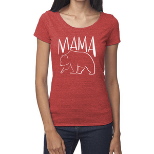 Mama Bear Organic Red Triblend Scoop T- Shirt