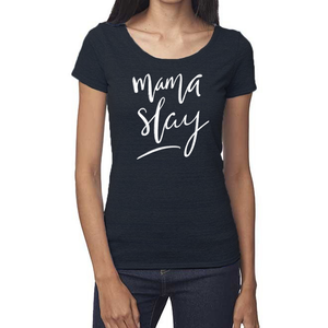Mama Slay Organic Navy Triblend Scoop T- Shirt