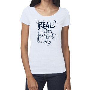 Real Not Perfect Organic White Triblend Scoop T- Shirt