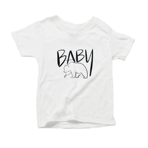 Baby Bear Organic Cotton Toddler Short Sleeve White Crew Tee