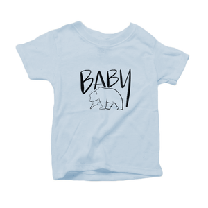 Baby Bear Organic Cotton Toddler Short Sleeve Baby Blue Crew Tee