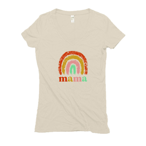Rainbow Mama Hemp V-Neck Cream Women's Tee