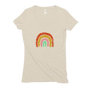 Cream Hemp V-Neck Women's T-Shirt with a Rainbow